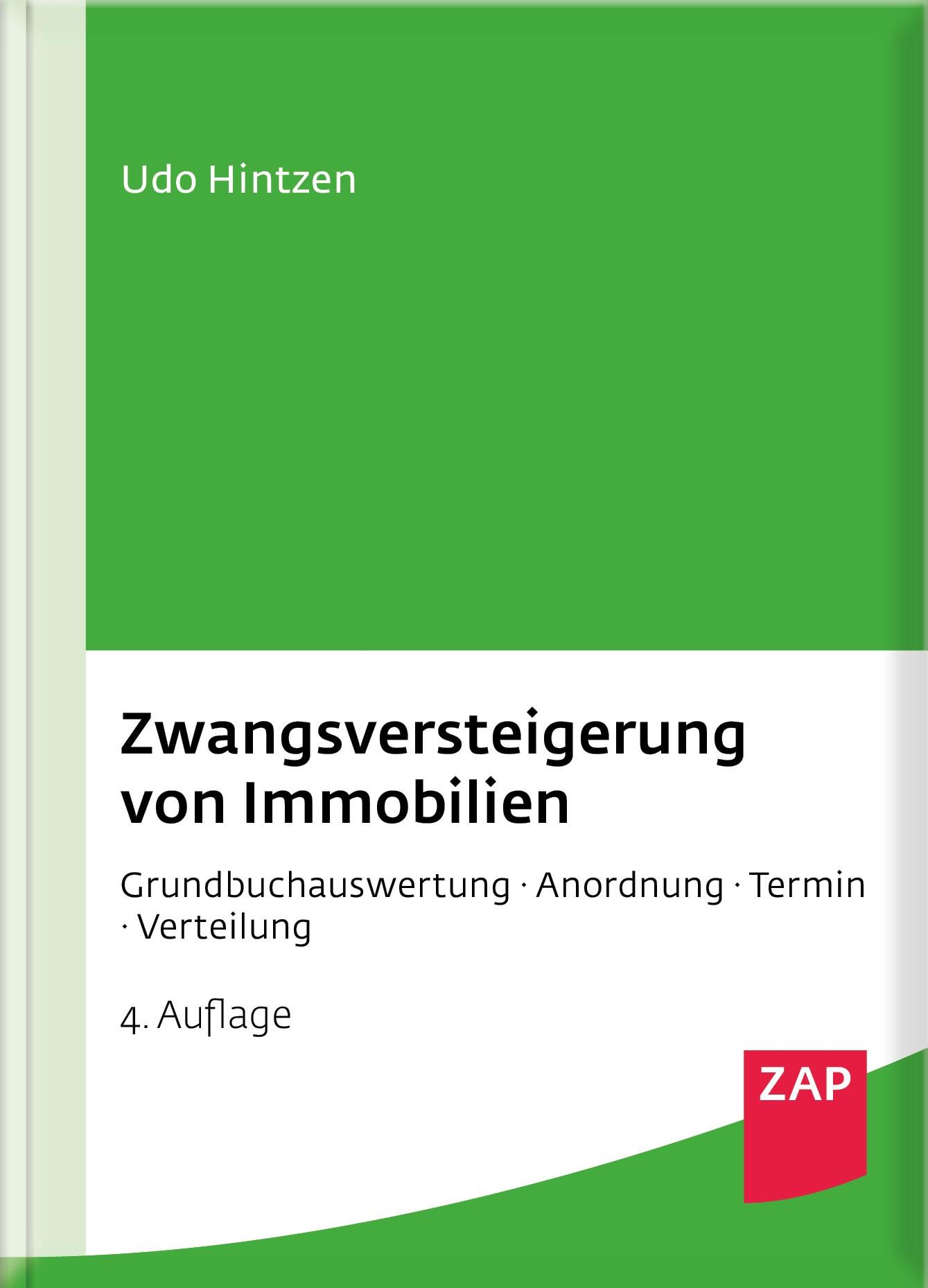 Zwangsversteigerung von Immobilien | Hintzen | 4. Auflage, 2018 | Buch (Cover)