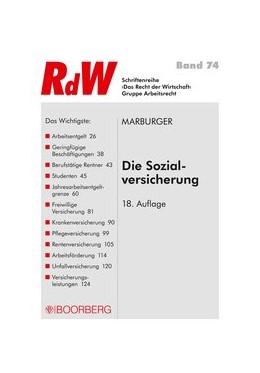 Abbildung von Marburger   Marburger Die Sozialversicherung   18. Auflage 2018   2018   074