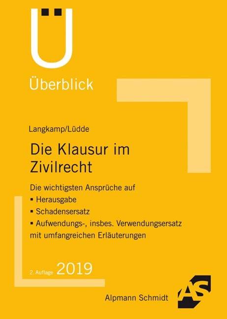 Die Klausur im Zivilrecht | Langkamp / Lüdde | 2. Auflage, 2018 | Buch (Cover)