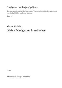 Abbildung von Wilhelm   Kleine Beiträge zum Hurritischen   2018   64
