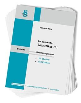 Abbildung von Hemmer / Wüst   Karteikarten Sachenrecht I   10. Auflage   2018   beck-shop.de