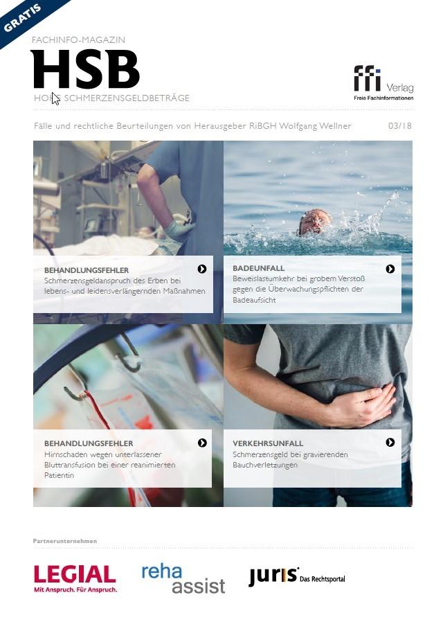 Fachinfo-Magazin - Hohe Schmerzensgeldbeträge (HSB) - Ausgabe 03/2018 (Cover)