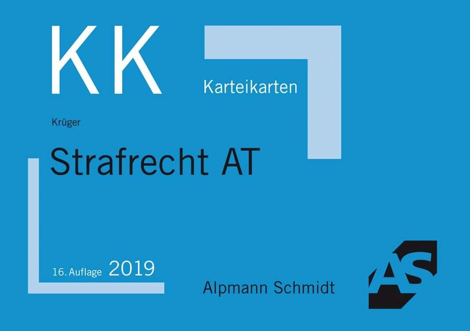 Karteikarten Strafrecht Allgemeiner Teil | Krüger | 16., aktualisierte Auflage, 2018 (Cover)