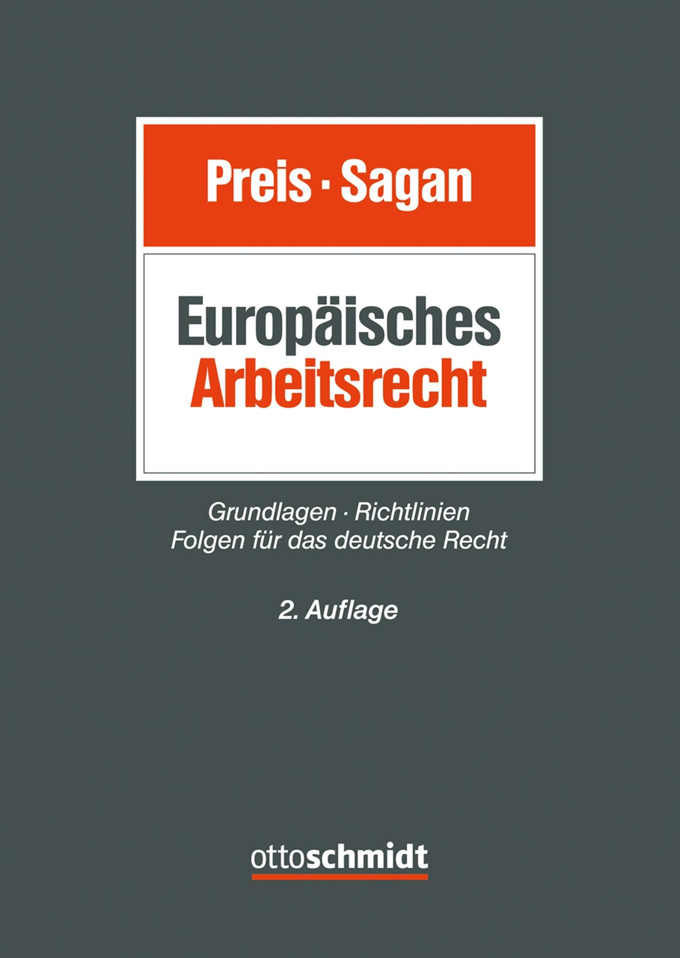 Europäisches Arbeitsrecht   Preis / Sagan   2. neu bearbeitete Auflage, 2018   Buch (Cover)
