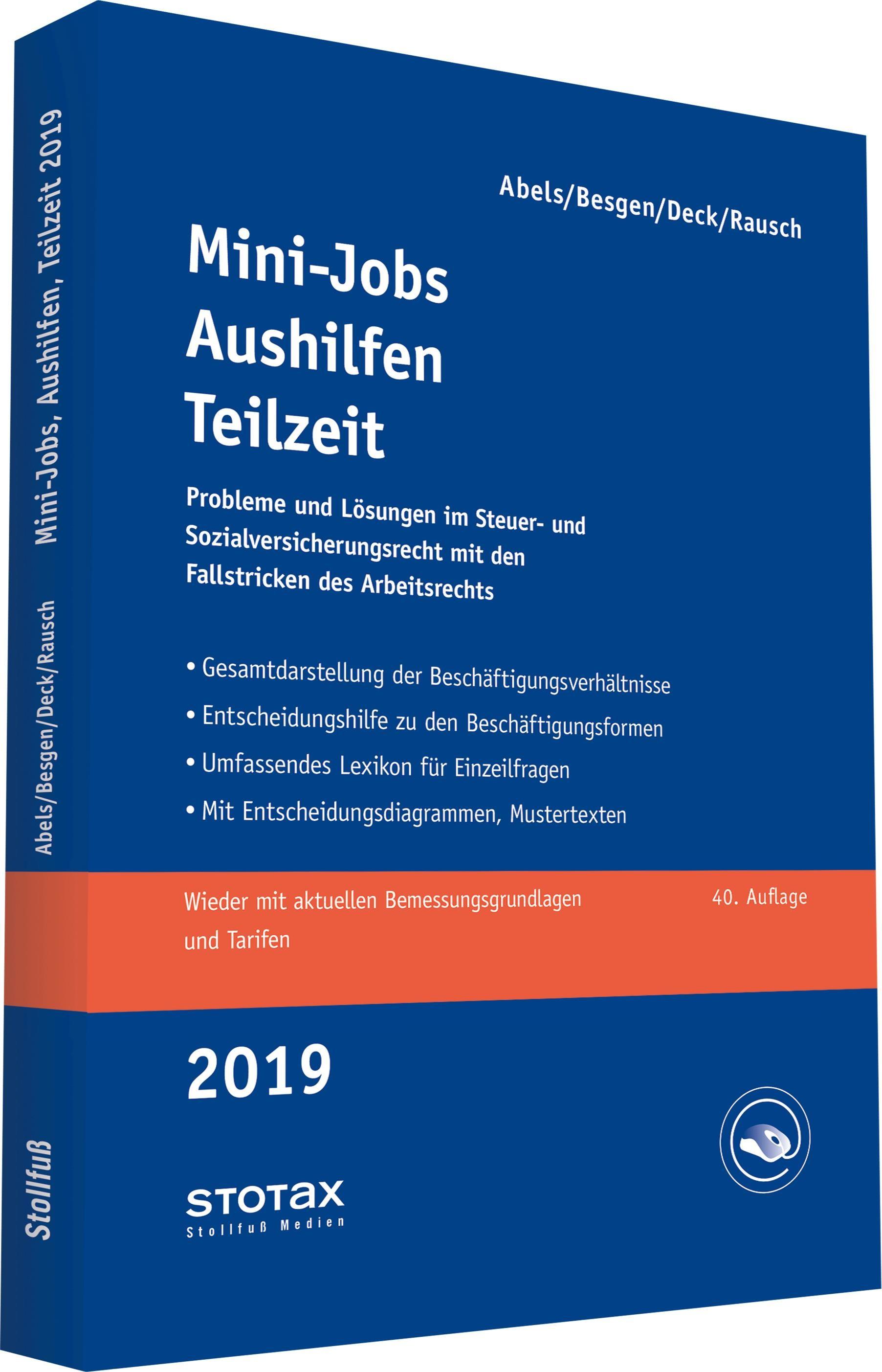 Mini-Jobs, Aushilfen, Teilzeit 2019 | Abels / Besgen / Deck / Rausch | 40. Auflage, 2018 | Buch (Cover)