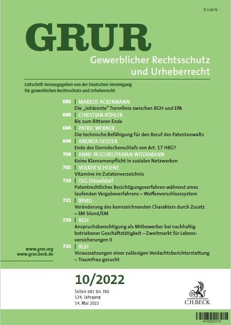 Abbildung von GRUR • Gewerblicher Rechtsschutz und Urheberrecht | 121. Jahrgang | 2019