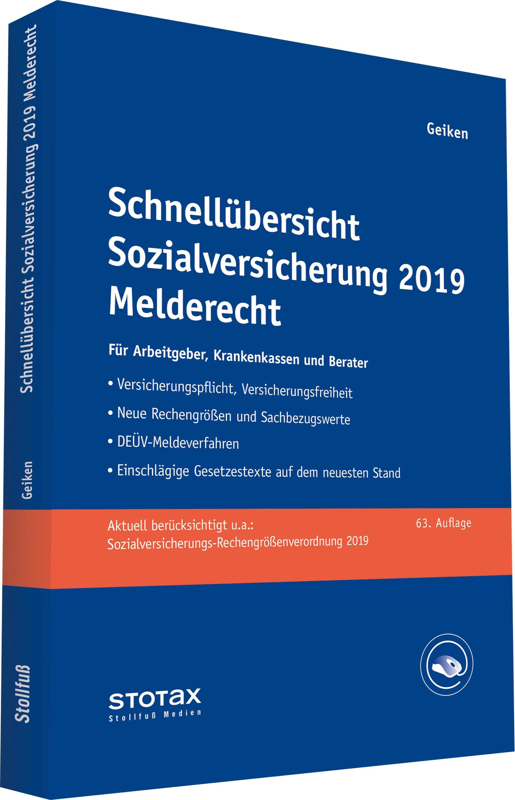 Schnellübersicht Sozialversicherung 2019 Melderecht | Geiken | 63. Auflage, 2019 | Buch (Cover)