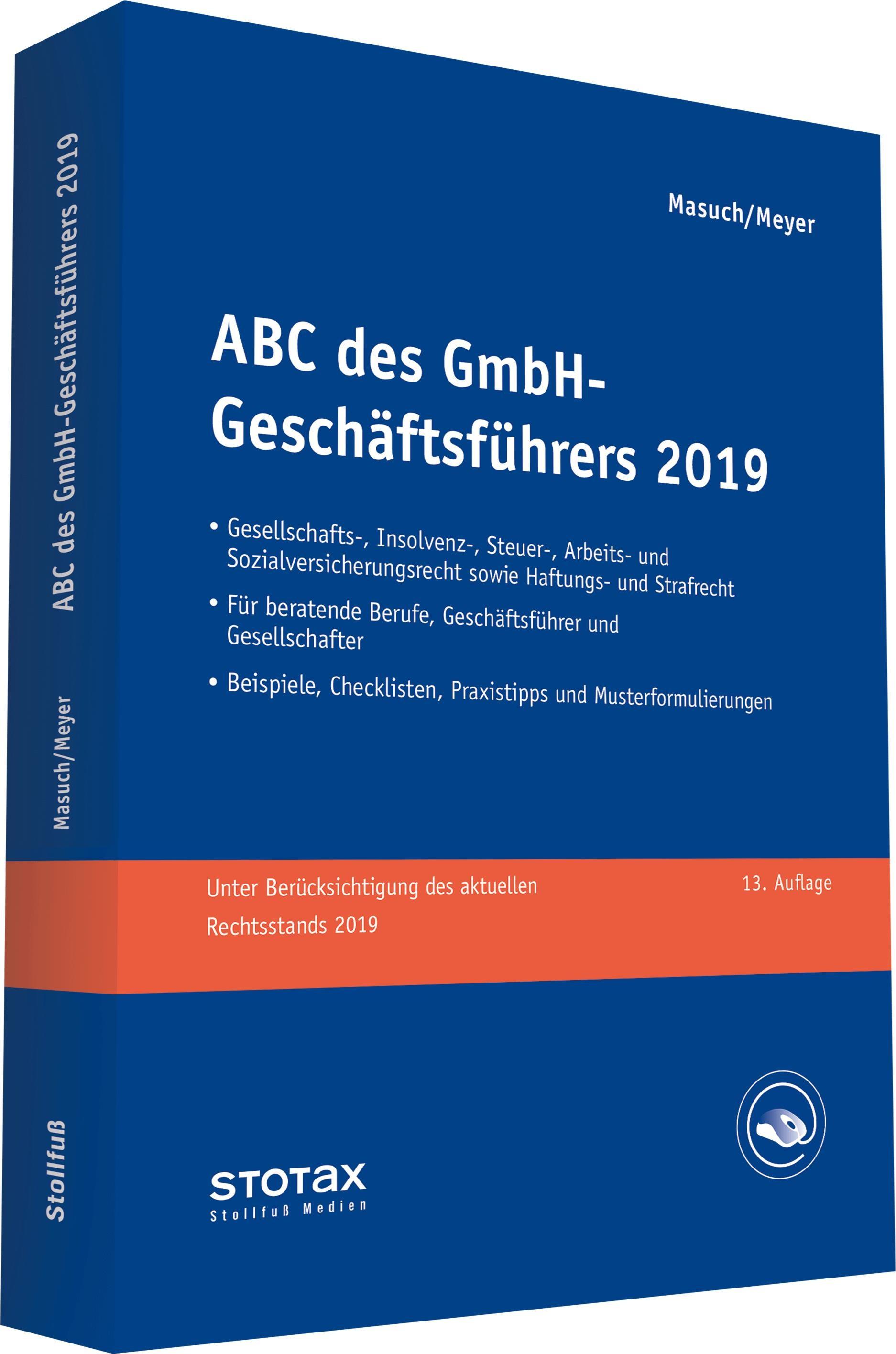 ABC des GmbH-Geschäftsführers 2019 | Masuch / Meyer | 13. Auflage, 2019 | Buch (Cover)