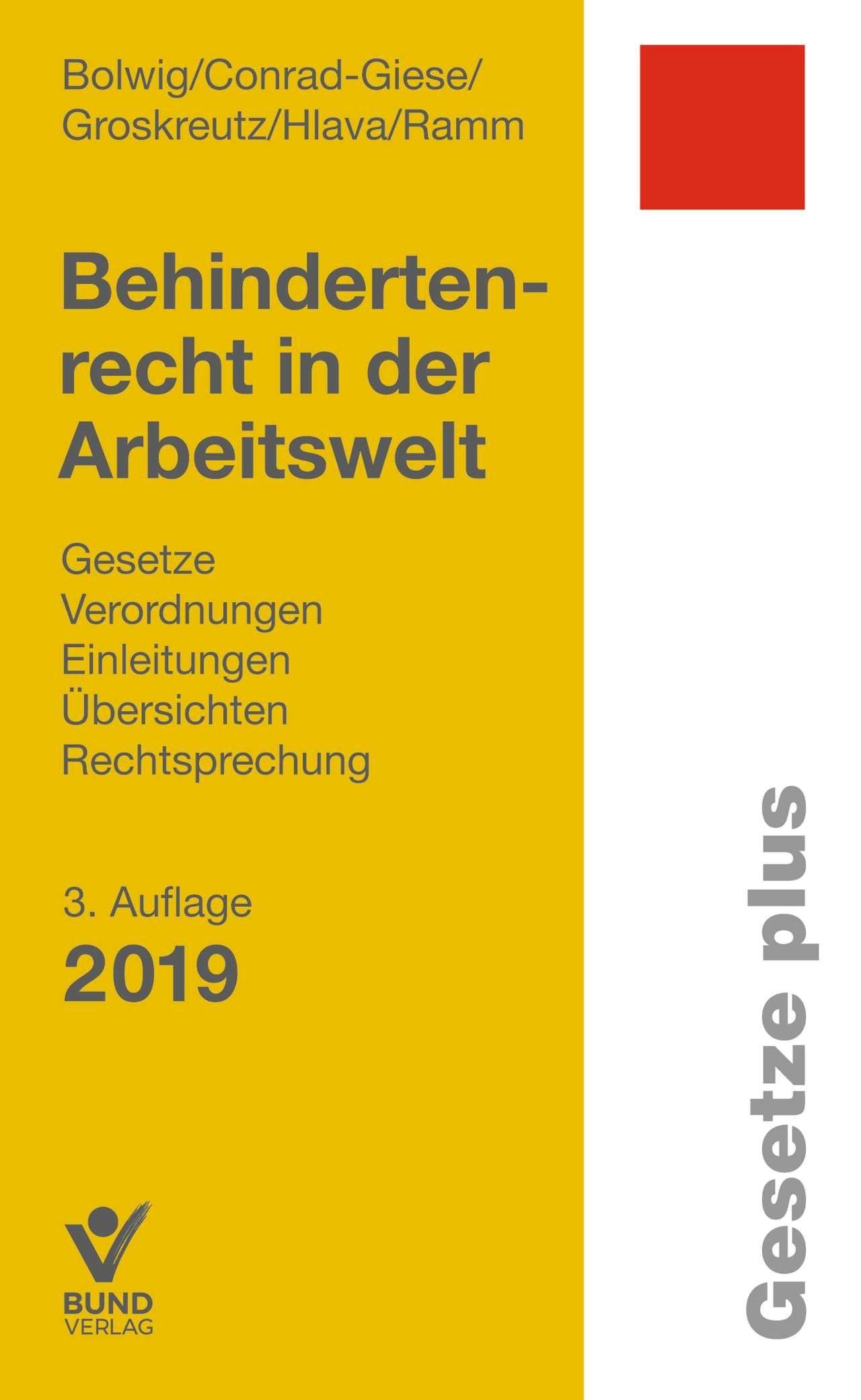 Behindertenrecht in der Arbeitswelt | Bolwig / Conrad-Giese / Groskreutz / Hlava / Ramm | 3., überarbeitete, aktualisierte Auflage, 2019 | Buch (Cover)