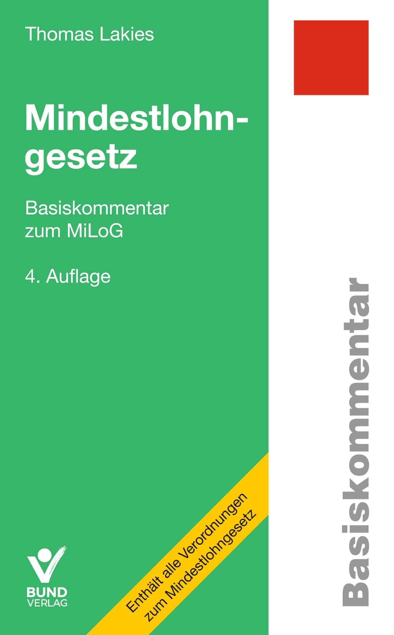 Mindestlohngesetz | Lakies | 4., überarbeitete Auflage, 2019 | Buch (Cover)