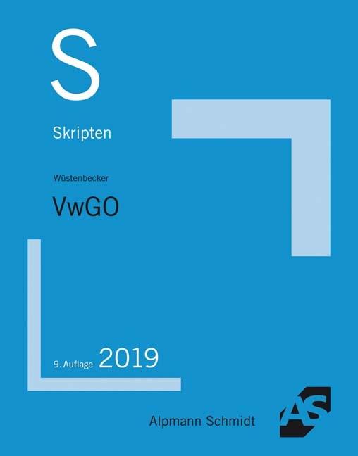 Skript VwGO   Wüstenbecker   9. Auflage, 2019   Buch (Cover)