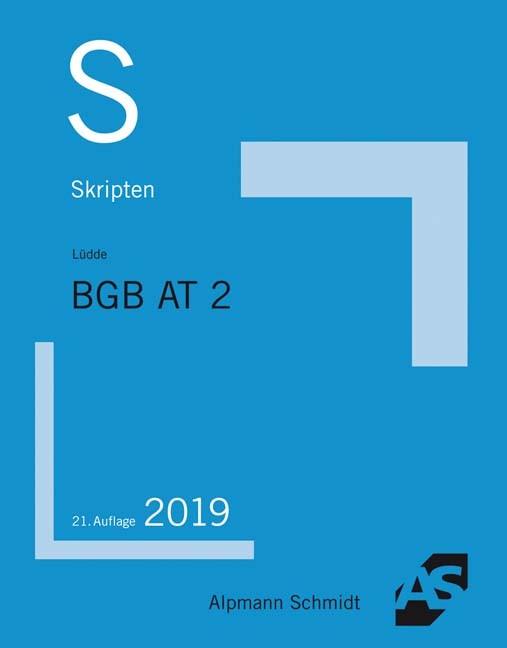Skript BGB AT 2   Lüdde   21. Auflage, 2019   Buch (Cover)