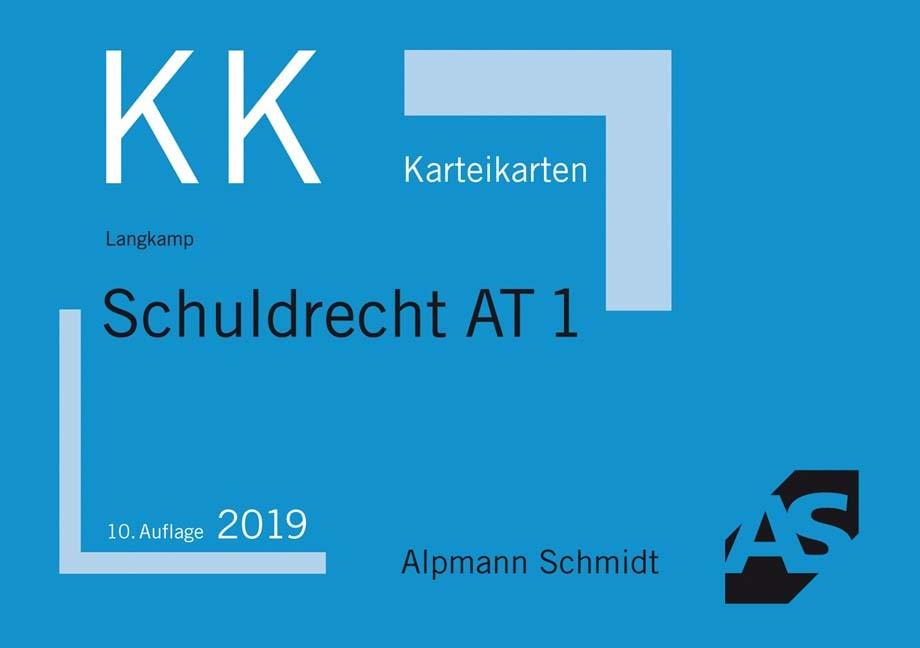 Karteikarten Schuldrecht AT 1 | Langkamp | 10. Auflage, 2019 (Cover)