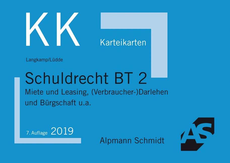 Abbildung von Langkamp / Lüdde   Karteikarten Schuldrecht BT 2   7., überarbeitete Auflage   2019