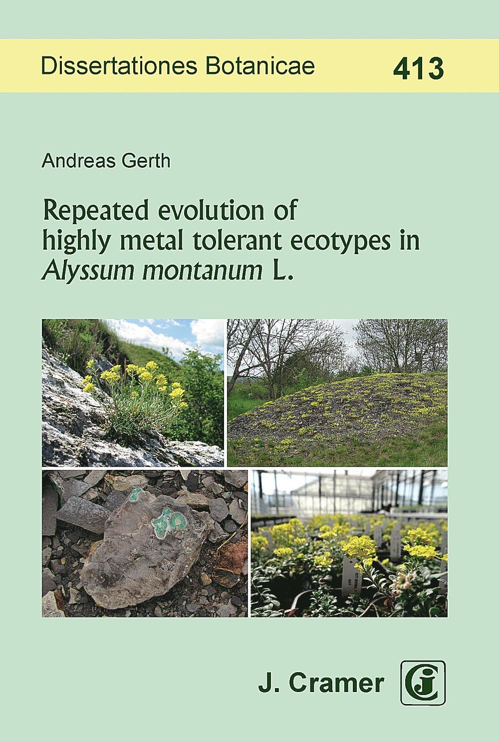 Abbildung von Gerth | Repeated evolution of highly metal tolerant ecotypes in Alyssum montanum L. | 2018