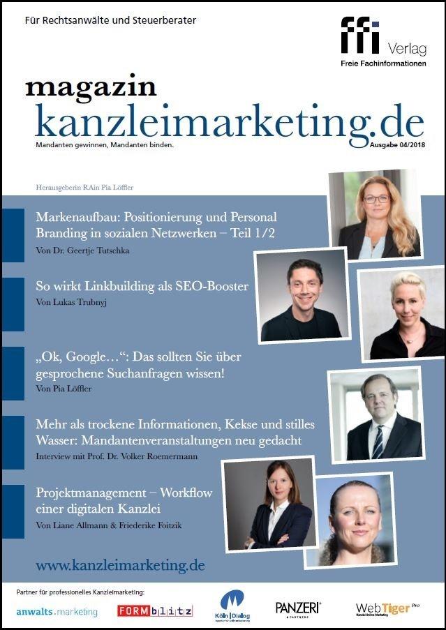 magazin kanzleimarketing.de   4/2018, 2018 (Cover)