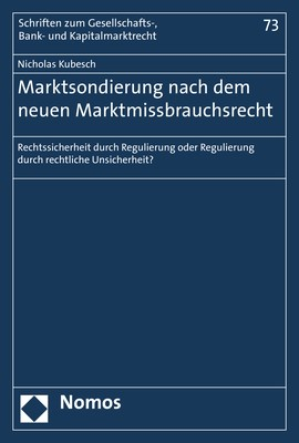 Marktsondierung nach dem neuen Marktmissbrauchsrecht | Kubesch, 2019 | Buch (Cover)