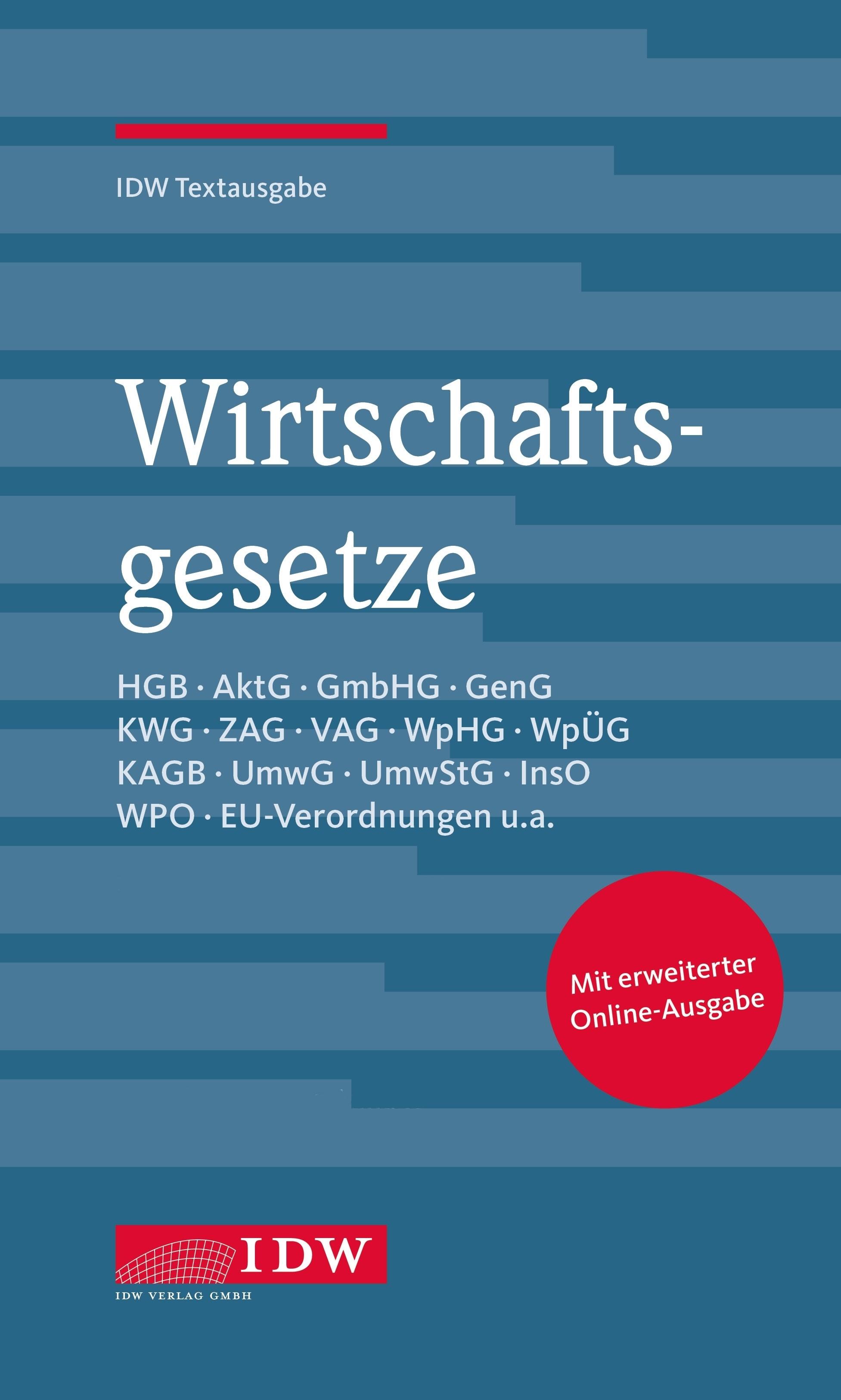 Wirtschaftsgesetze   Institut der Wirtschaftsprüfer (IDW)   35. Auflage, 2019 (Cover)