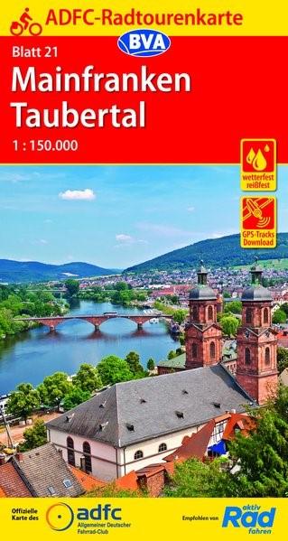 Abbildung von ADFC-Radtourenkarte 21 Mainfranken Taubertal 1:150.000 | 14. Auflage | 2019