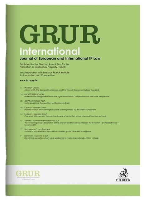 GRUR Int • Gewerblicher Rechtsschutz und Urheberrecht Internationaler Teil | 67. Jahrgang (Cover)
