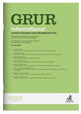 Abbildung von GRUR Int • Gewerblicher Rechtsschutz und Urheberrecht Internationaler Teil | 68. Jahrgang | 2019 | Zeitschrift der Deutschen Vere...