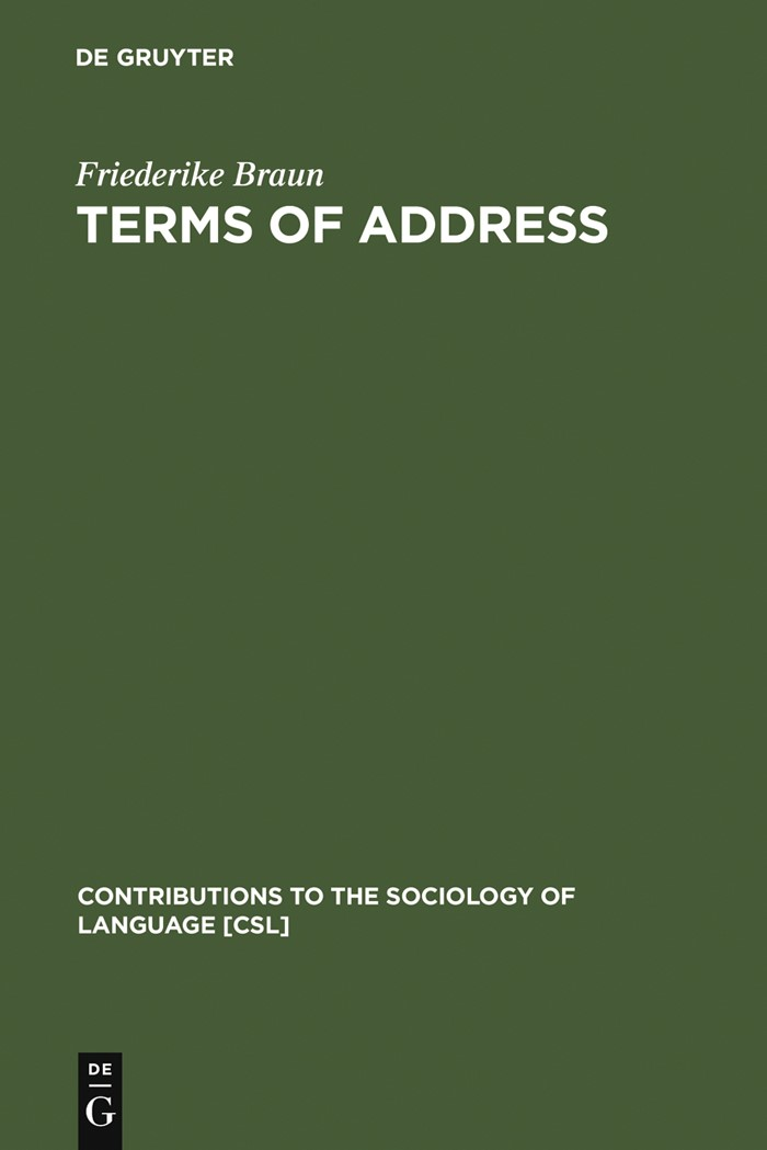 Abbildung von Braun | Terms of Address | Reprint 2012 | 1988