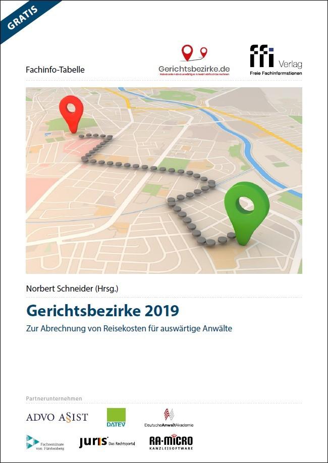 Abbildung von Schneider (Hrsg.)   Fachinfo-Tabelle Gerichtsbezirke 2019   2019