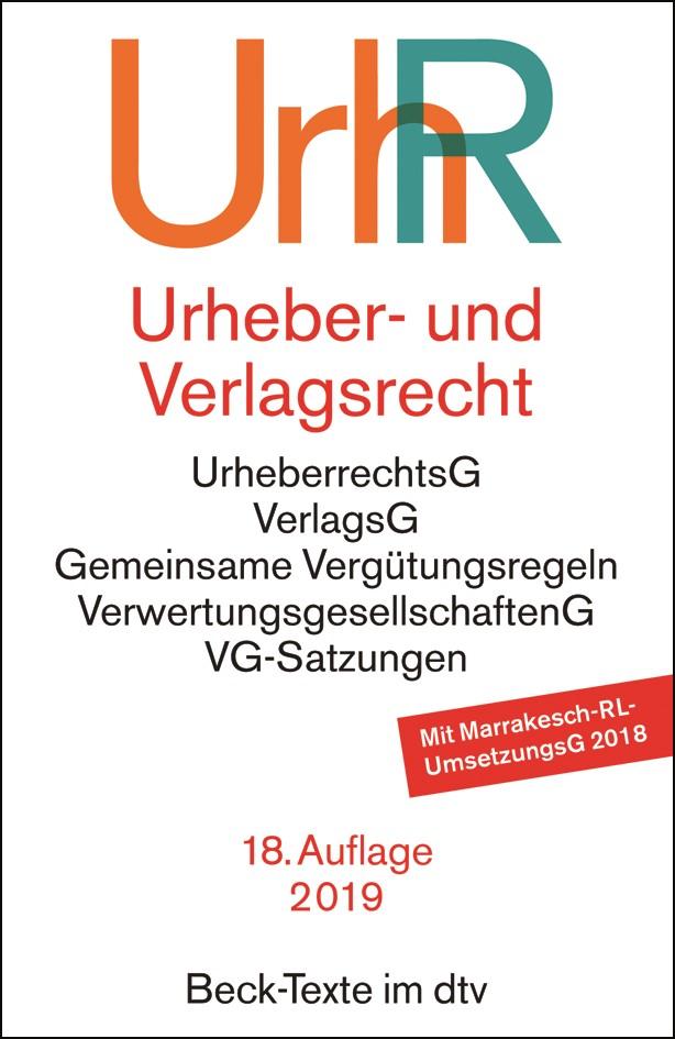 Urheber- und Verlagsrecht: UrhR | 18. Auflage, 2019 | Buch (Cover)