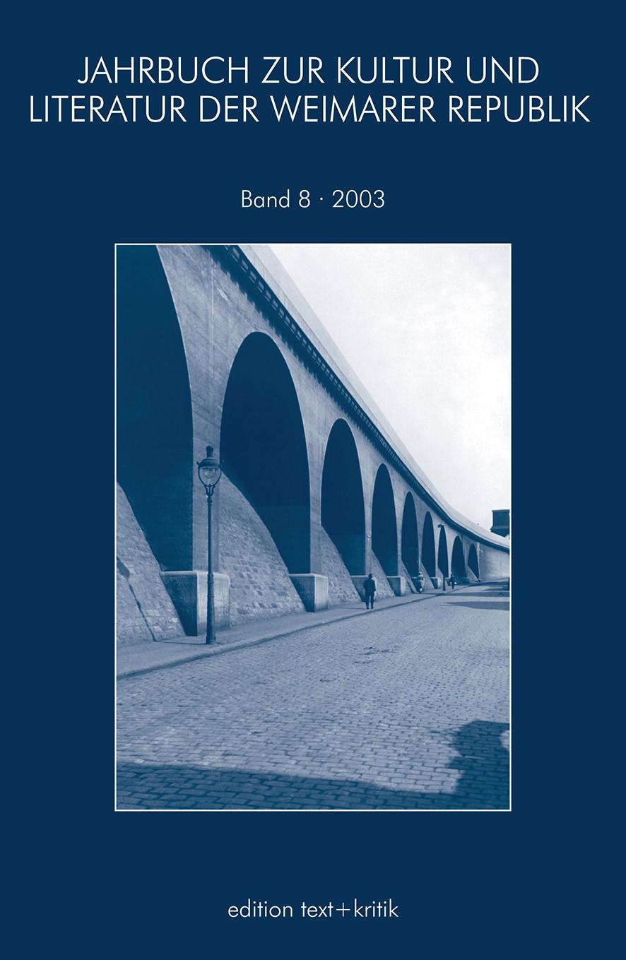 JAHRBUCH ZUR KULTUR UND LITERATUR DER WEIMARER REPUBLIK, 2004   Buch (Cover)