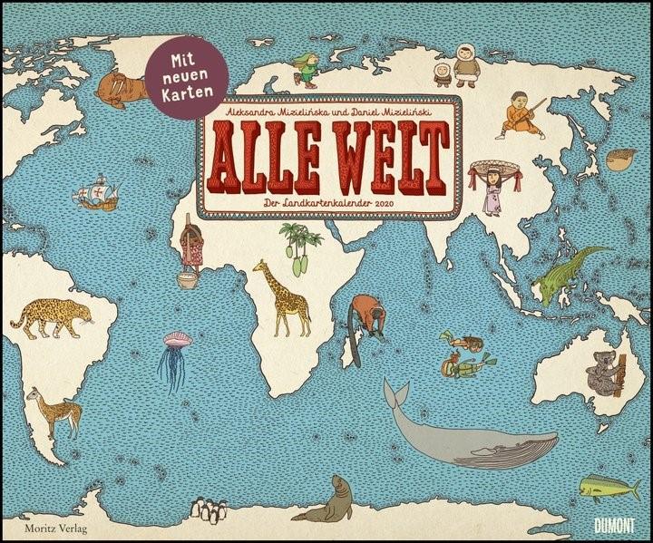 Alle Welt 2020 - Landkarten-Kalender von DUMONT- Kinder-Kalender - Querformat 58,4 x 48,5 cm | Dumont Kalenderverlag | 1. Auflage, 2019 (Cover)