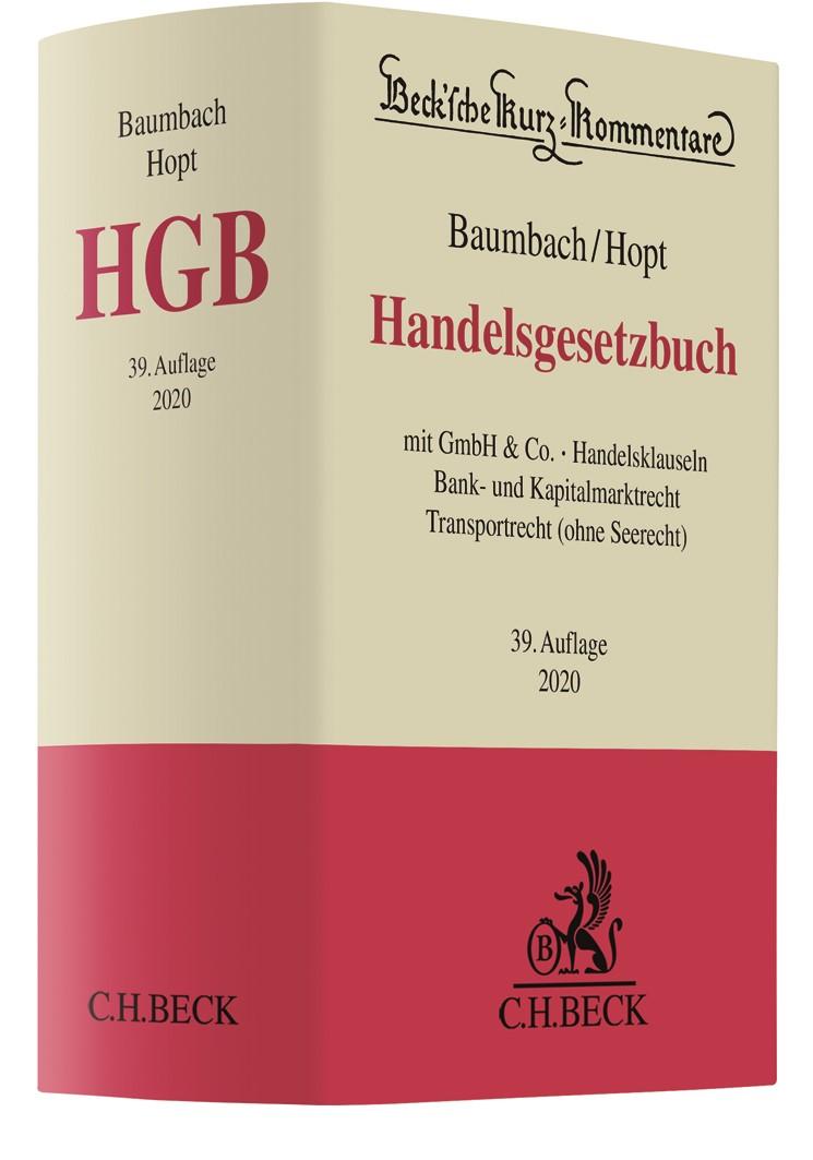 Handelsgesetzbuch: HGB   Baumbach / Hopt   39. Auflage, 2019   Buch (Cover)