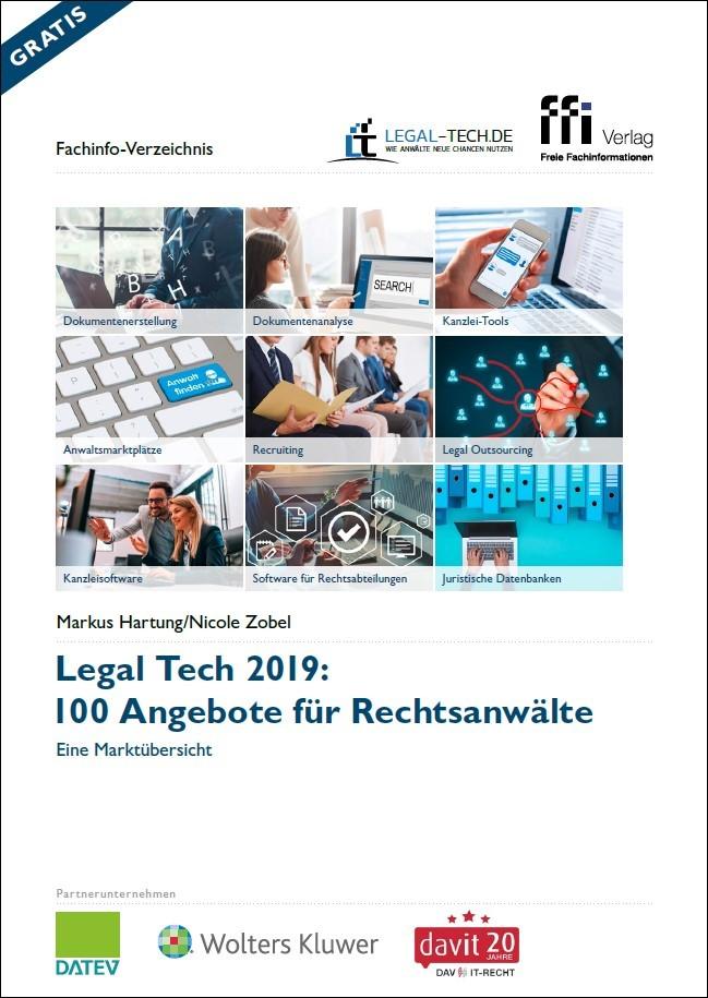 Legal Tech 2019: 100 Angebote für Rechtsanwälte | Hartung / Zobel (Cover)