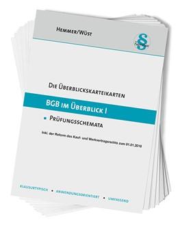 Abbildung von Hemmer / Wüst | Karteikarten BGB im Überblick I | 14. Auflage | 2019 | beck-shop.de