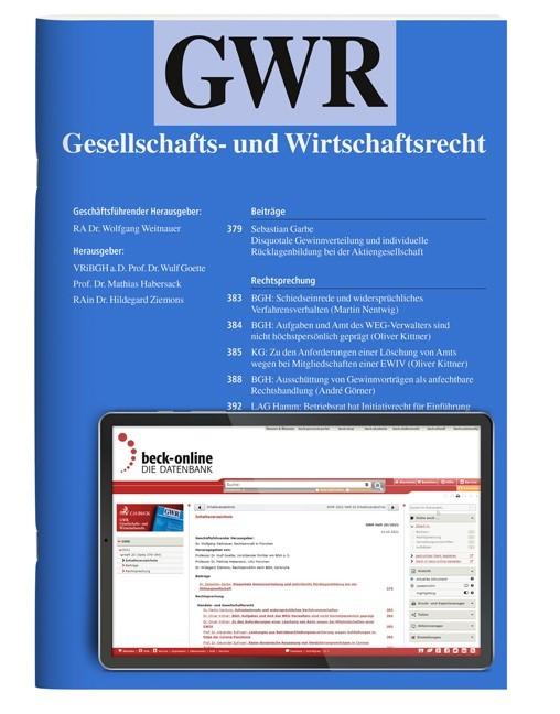 GWR • Gesellschafts- und Wirtschaftsrecht | 10. Jahrgang (Cover)
