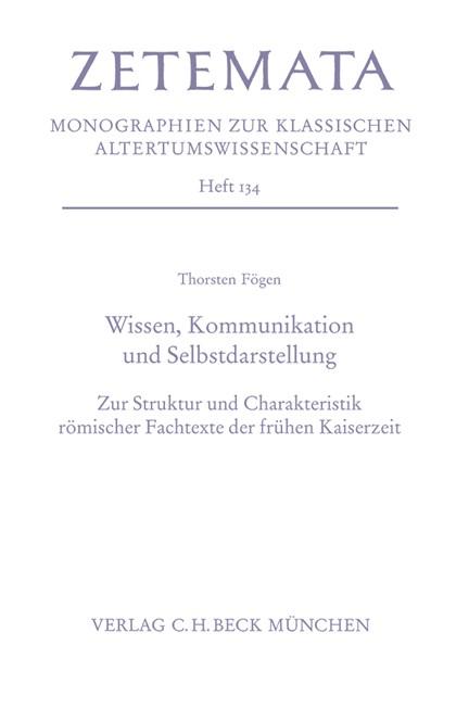 Cover: Thorsten Fögen, Wissen, Kommunikation und Selbstdarstellung