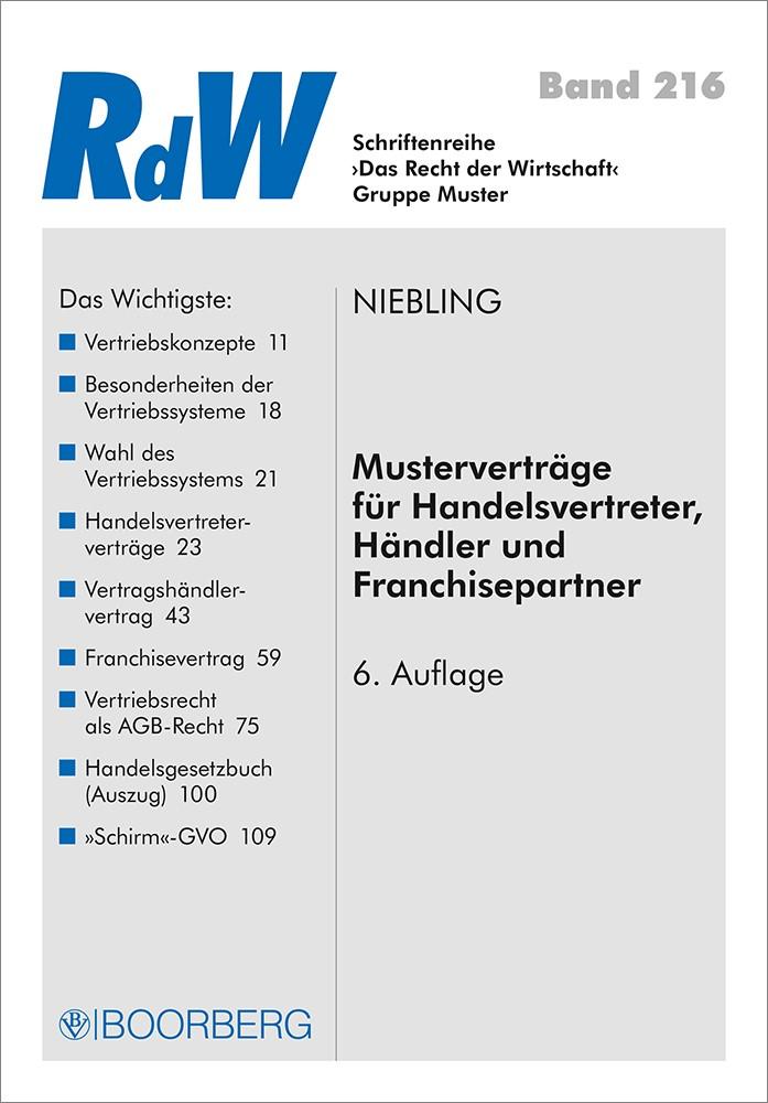 Abbildung von Niebling | Musterverträge für Handelsvertreter, Händler und Franchisepartner | 6., überarbeitete Auflage | 2019