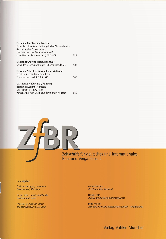 ZfBR • Zeitschrift für deutsches und internationales Bau- und Vergaberecht (Cover)