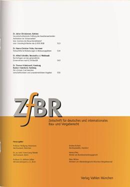 Abbildung von ZfBR • Zeitschrift für deutsches und internationales Bau- und Vergaberecht | 42. Jahrgang | 2019
