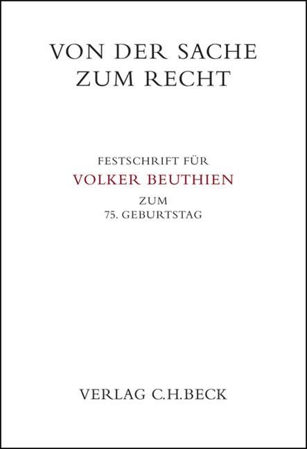 Von der Sache zum Recht, 2009   Buch (Cover)