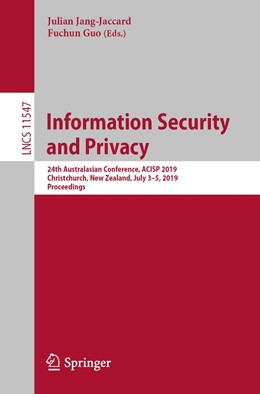 Abbildung von Jang-Jaccard / Guo | Information Security and Privacy | 1st ed. 2019 | 2019 | 24th Australasian Conference, ...