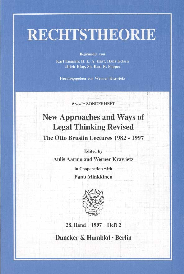 New Approaches and Ways of Legal Thinking Revised. | Aarnio / Krawietz, 1998 | Buch (Cover)