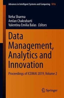 Abbildung von Sharma / Chakrabarti / Balas | Data Management, Analytics and Innovation | 1st ed. 2020 | 2019 | Proceedings of ICDMAI 2019, Vo... | 1016