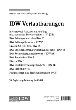 Abbildung von IDW, 70. Erg.-Lief. IDW Prüfungsstandards Juni 2019 | 1. Auflage | 2019 | beck-shop.de