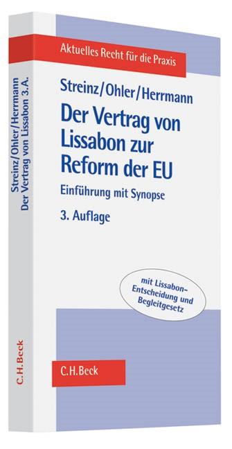 Der Vertrag von Lissabon zur Reform der EU | Streinz / Ohler / Herrmann | 3., aktualisierte und erweiterte Auflage, 2010 | Buch (Cover)