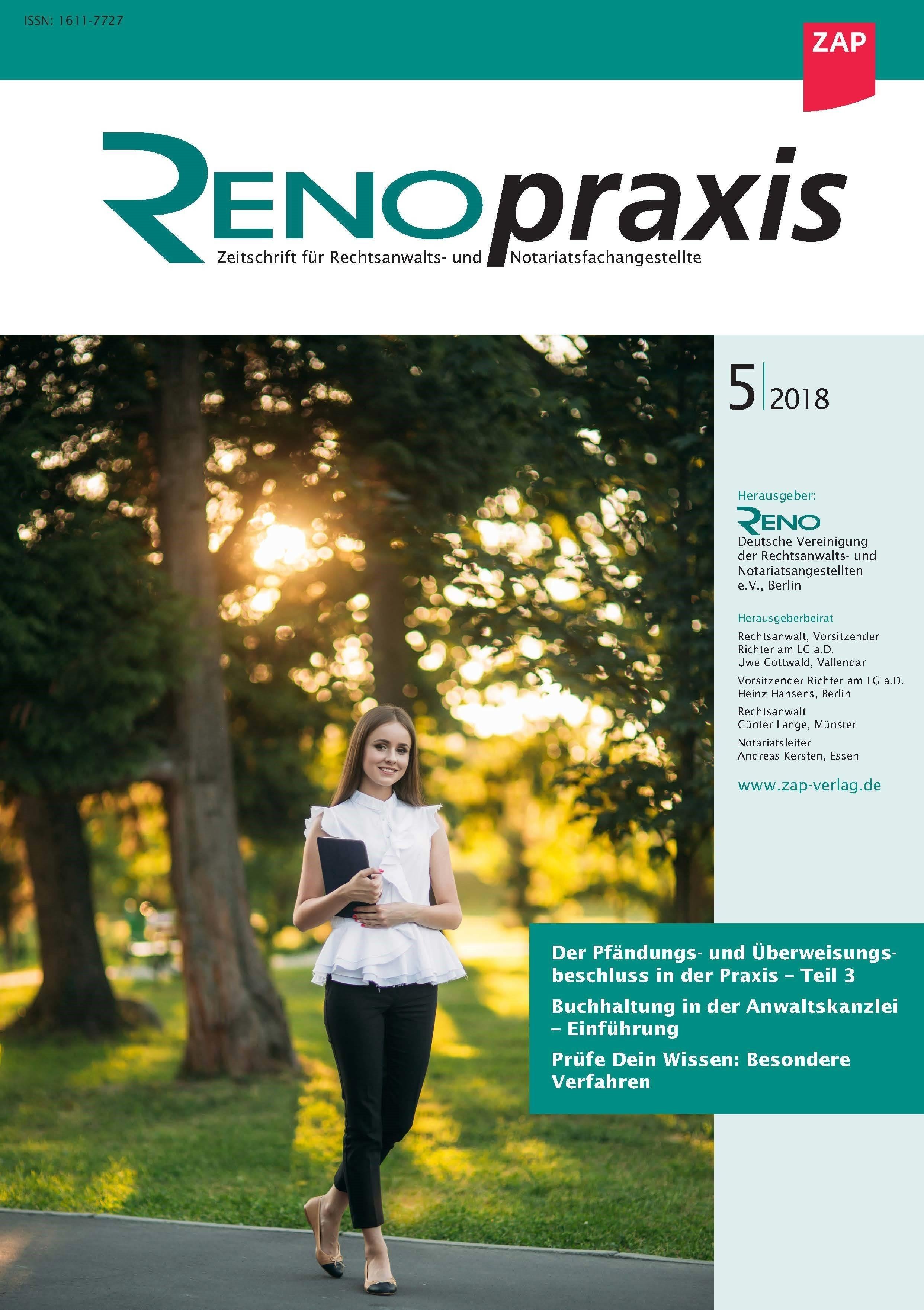 RENOpraxis - Zeitschrift für Rechtsanwalts- und Notariatsangestellte (Cover)