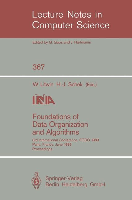 Foundations of Data Organization and Algorithms | Litwin / Schek, 1989 | Buch (Cover)