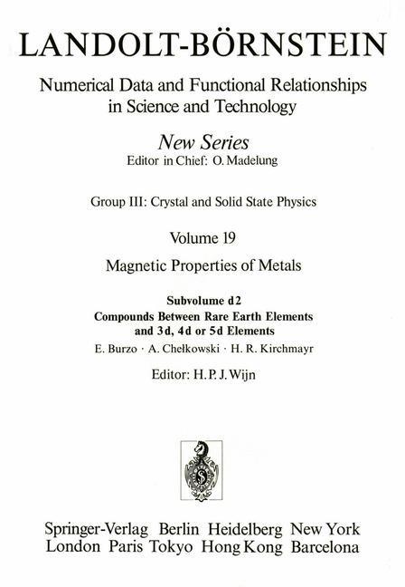 Abbildung von Burzo / Chelkowski / Kirchmayr | Compounds Between Rare Earth Elements and 3d, 4d, or 5d Elements / Verbindungen von Seltenen Erden mit 3d-, 4d- und 5d-Elementen | 1990
