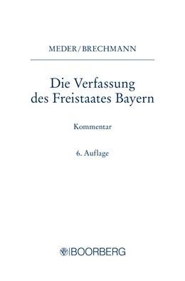 Abbildung von Die Verfassung des Freistaates Bayern | 6. Auflage | 2020