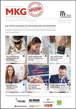 Abbildung von Fachinfo-Magazin MkG • Spezial Ausgabe 09/2019 • Die Anwaltskanzlei als erfolgreiches Unternehmen   2019   Von erfahrenen Praktikern für ...