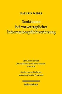 Abbildung von Weber   Sanktionen bei vorvertraglicher Informationspflichtverletzung   1. Auflage   2020   beck-shop.de